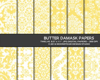Butter Yellow Damask Digital Papers 8.5x11 Personal or Commercial Use