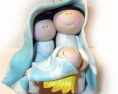 Polymer clay Christmas Ornament, Christmas Nativity Jesus and Mary and Joseph ornament polymer clayPolymer Clay  2016