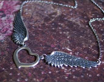 Wing Heart Necklace -Detailed ANGEL WING Pendants- PERFECT Wife, Mother, Friend Gift -Rememberance Necklace- 'Soaring' by RevelleRoseJewelry