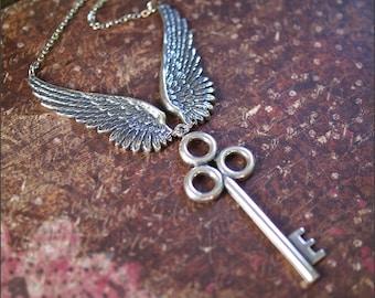 Wing Key Necklace -Large SKELETON Key w/ ANGEL WING Pendants- Gorgeous Sterling Silver Ox 'Key to Heaven' by RevelleRoseJewelry