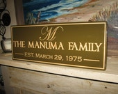 "Personalized Engraved Family Name Established Sign 9"" X 24"""