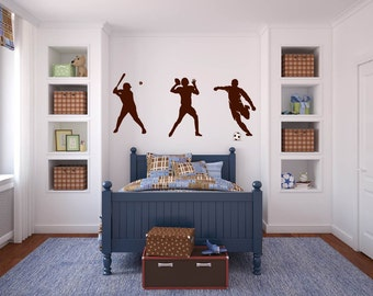 Kids vinyl wall decal set of 3 soccer player football and baseball player we can do any color any size