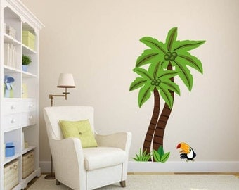 Wall decals - Jungle tree - Palm tree - Vinyl wall tree decal - Nursery tree decal - Toucan bird