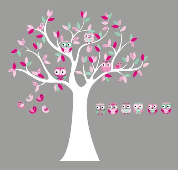 Kinderzimmer Wandtattoo Aufkleber Vinyl Baum Eule Baum 6 Free OLWS