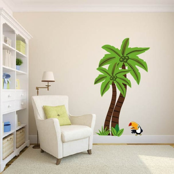 wall decals jungle tree palm tree vinyl wall tree decal. Black Bedroom Furniture Sets. Home Design Ideas