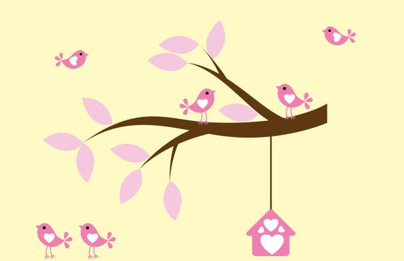 Nursery decal - Kids decals - vinyl wall art -  tree branch decal -  bird decal -  birdhouse - Vinyl decals