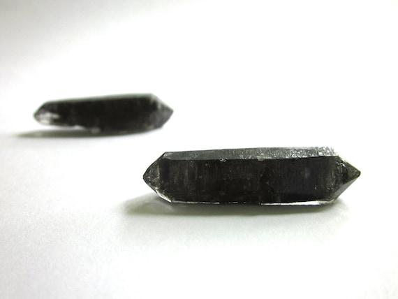 Tibetan Quartz Black Double Terminated 2 Crystals 38mm and 39mm Rough Raw Natural (Lot No. 945)