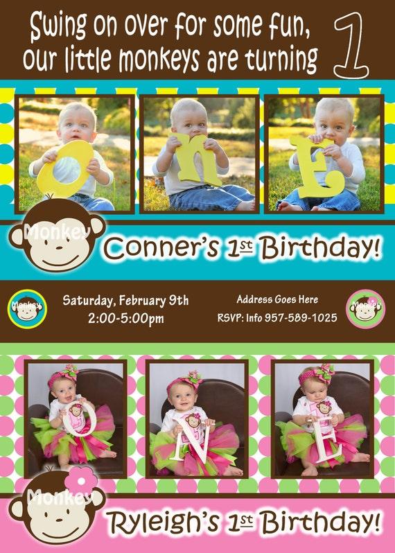 Items similar to Twins 1st Birthday Mod Monkey Invite Mod Monkey