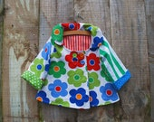 Baby/Toddler Girl's Swing Coat Jacket in White with Red Green and Blue Flowers with flannel lining - Size 12-18m