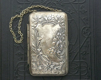 Antique Compact Purse. Art Nouveau. Coins, Calling Cards, Powder, Mirror.