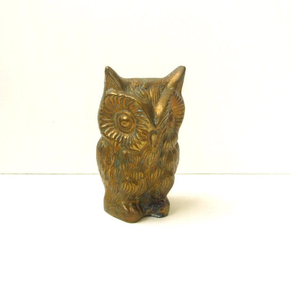 SALE Vintage Brass Owl, Large Metal Figurine, Home Decor, Office, Paper Weight