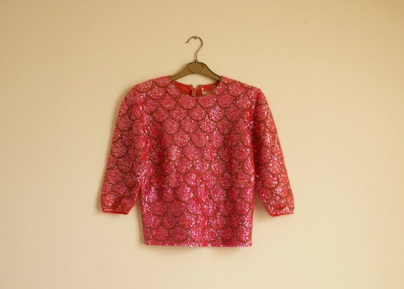 RESERVED 1950s/1960s Pink Shangri Las Sequin Sweater XS/S