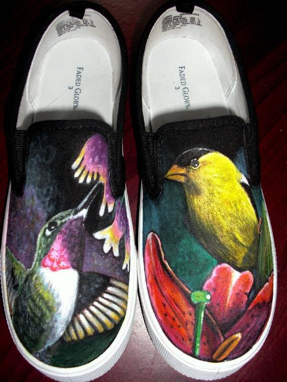Hand Painted Shoes Sneakers Flats (birds humming bird finch nature)