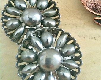 Vintage 1950s Costume Jewelry Earrings Silver Colored Flower Modern Mad Men