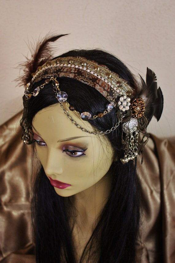 Tribal Fusion Headpiece Turkish Coffee Bellydance Headdress