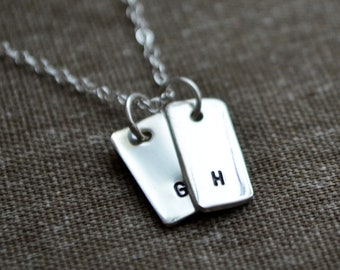 Tiny Vertical Initial Necklace - Hand Stamped - Personalize