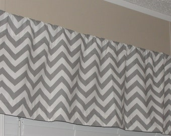 """Premier Prints Storm Grey and White Chevron Valance 50"""" wide x 16"""" long Zig Zags Lined or Unlined"""