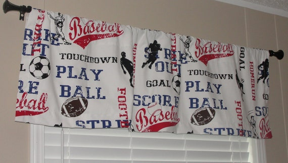 """Premier Prints Sports Theme Valance 50"""" wide x 16"""" long Lined or Unlined Baseball Football Soccer Red White Black Blue"""