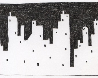Original drawing in ink of cityscape with windows, buildings. Free shipping