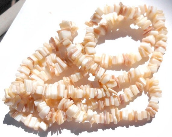 Bulk Strand Natural Off White and Tan Mother of Pearl Chips and Nugget Beads