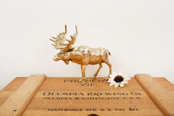 vintage brass moose figurine
