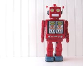 RESERVED Vintage Space Walk Man Red Robot Tin Litho Toy Lights Up Walks Works