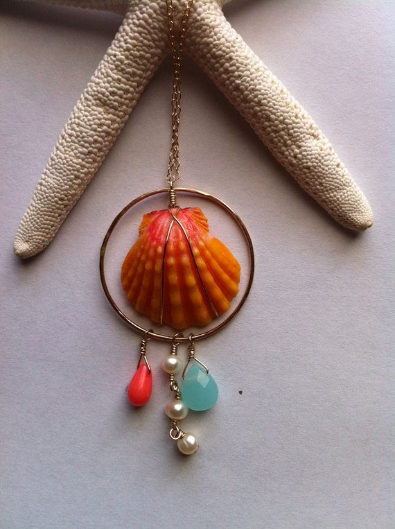 Long Sunrise Shell Neckalace with Pink Coral, Freshwater Pearls, and Light Blue Opal