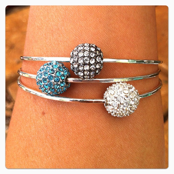 Argentium Sterling Silver CRYSTAL PAVE Bead Bangle---Various Pave Bead Colors