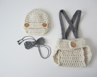 Crochet Baby Boy Newsboy Set with Suspenders and Bowtie, Photography Prop Set, Size Newborn and Infant – Aran & Grey Heather