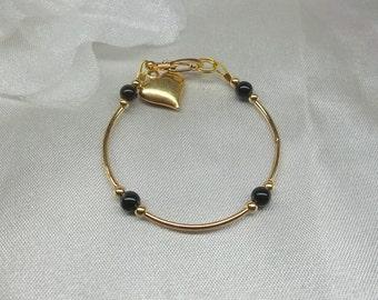 Girls Gold Anklet Toddler Anklet Black Onyx Ankle Bracelet 14k Gold Anklet Heart Anklet or Bracelet 14k Gold Plate BuyAny3+Get1Free