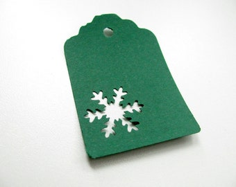 Christmas - Set of 40 green Tags - SNOWFLAKE - Cardboard - Perforated - Stamp - Decor for package