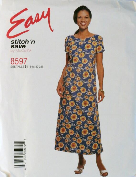 Pullover Dress Cap Sleeves Pattern McCalls 8597