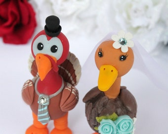 Love bird wedding cake topper turkey and duck, customizable, with banner, more than 4 inch tall