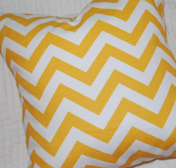 SALE - Yellow Chevron Pillow Cover - 16x16 inches - Invisible Zipper Closure