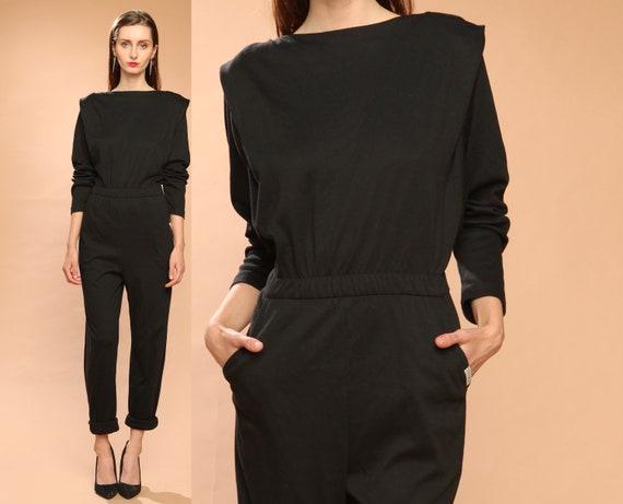 black jumpsuit romper // vintage 80s // cotton // cropped ankle // one piece // saint germain paris // small medium