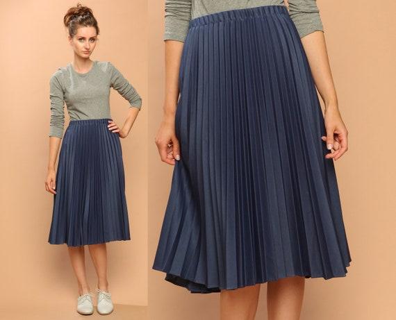 accordion pleated skirt // vintage 70s // midi skirt // pleat // steel blue // medium