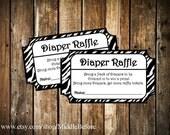 INSTANT DOWNLOAD- Zebra Print Printable Baby Shower Diaper Raffle Ticket