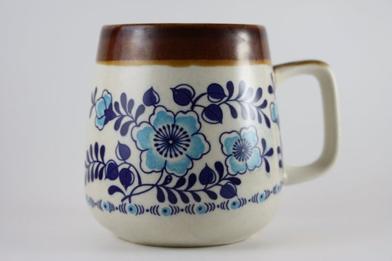 cup mug coffee cup pottery ceramic flower design glazed