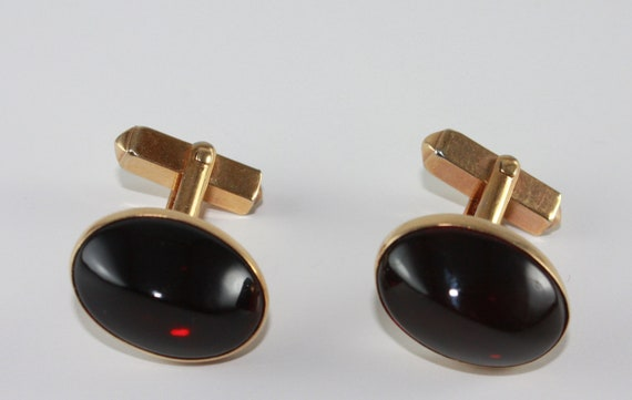 cuff links Swank ruby red gold set vintage accessories cuff links
