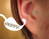 The Ronin Collection 'A curl' Tragus Cuff GRIPPY silver spiral ear cuff wire loop swirl curly earring alternative