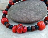 Chunky Red Coral Necklace - Lava Rock - Bodhi Seed Earthy Organic Necklace