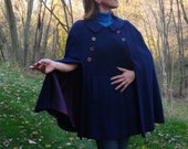 Vintage 60s Navy Blue Nanny Cape Double Breasted Overcoat. That Girl Poncho - One Size S M L