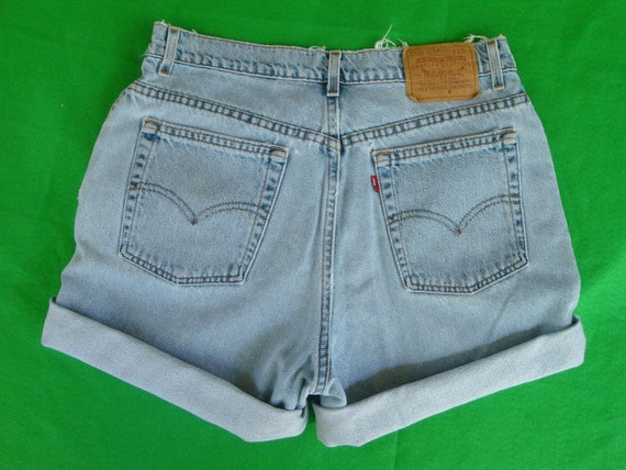 Vintage High Waisted Levis Long Faded Denim Shorts Shredded Women's Grunge - Retro Hip Blue Jeans Red Tab Plus Size 34 w