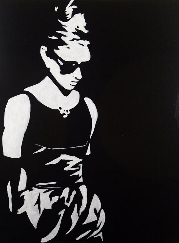 "SALE - Audrey Hepburn Breakfast at Tiffany's Portrait Pop Art Style Black and White -18""x24"" - Originally 175.00"