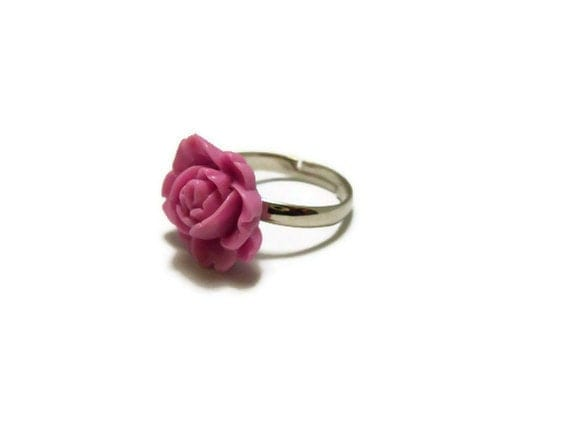 Light Purple Resin Rose Ring, flower ring, flower jewelry, rose jewelry, rose ring