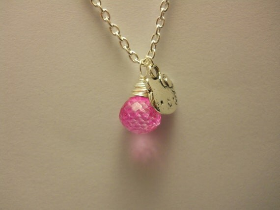 Wire Wrapped Hot Pink Quartz Pendant and Hello Kitty Charm