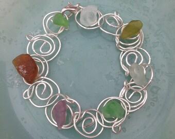 Seaglass Silver Link Bracelet