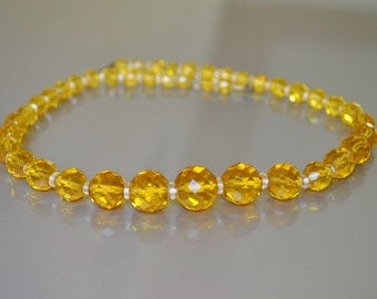 Necklace Crystal Glass Bead Amber Faceted