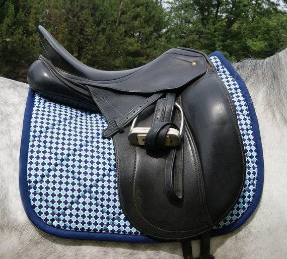 Navy Blue and Turquoise Dressage Saddle Pad
