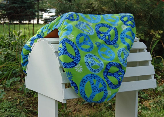 Lime Green and Blue Peace Sign Reversible Close Contact Saddle Cover